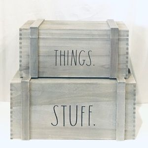 Rae Dunn Wooden Storage Crate Set 2019 Gray Wash